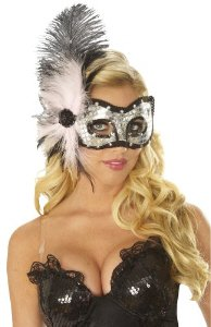 Pink Cat Eyes Feather Mask Halloween Costume Accessory (DF30)