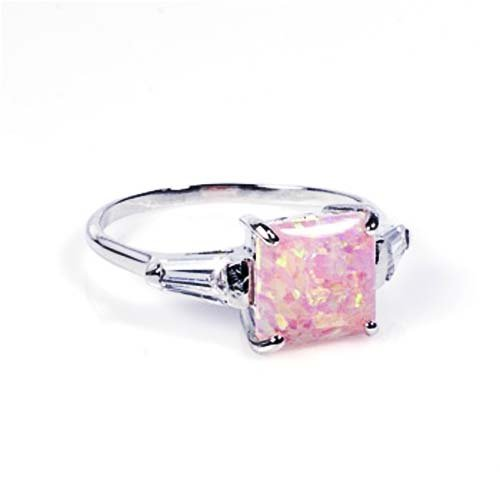 Rhodium Plated Sterling Silver Wedding & Engagement Ring Clear CZ, Pink Opal Ladies Ring 7MM ( Size 4 to 10) Size 6