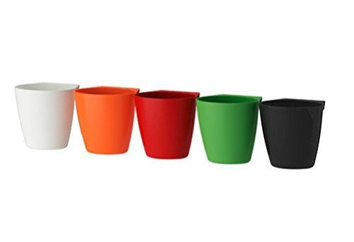 IKEA Bygel Containers, White, Orange, Red, Green, Black (5 total Containers)