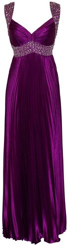 Beaded Pleated Satin Prom Dress Bridesmaid Formal Gown