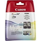 Canon 2970B010 - PG-510 / CL-511 Multi pack - 2-pack - black, colour (cyan, magenta, yellow) - original - ink cartridge - for PIXMA MP230, MP237, MP252, MP258, MP270, MP280, MP282, MP499, MX350, MX360, MX410, MX420