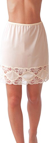 Under Moments Classic Half Slip with Lace Details 18″ (Beige-M)
