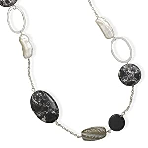 Sterling Silver 32 Inch Multistone and Cultured Freshwater Pearl Necklace - JewelryWeb
