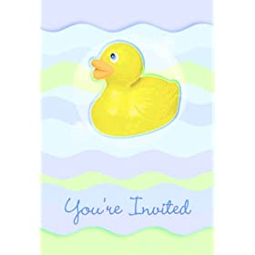 Rubber Ducky Baby Shower Folded Invitations