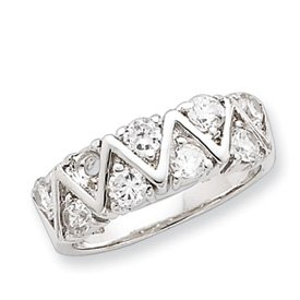 Sterling Silver CZ Ring - Size 7 - JewelryWeb