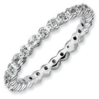 0.33ct Silver Stackable White Topaz & Diamond Band. Sizes 5-10