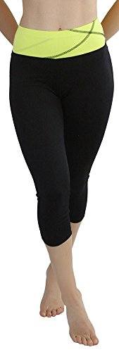 ToBeInStyle Women's Comfy Capri Yoga Pants with Criss-Cross Design - Yellow - 2XL