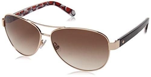 Image of Kate Spade Women's Dalia 2 Aviator Sunglasses, Gold Dots & Brown Gradient 135 mm