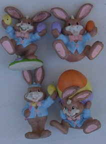 [Easter Figures Set Of (4) PVC 1990 Peter Cotton Tail] (Peter Cotton Tail)