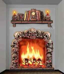 Skull Fireplace Skeleton Haunted House Halloween Party Giant Wall Decoration (Giant Fireplace compare prices)