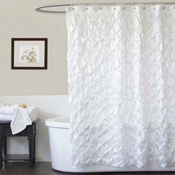 Triangle Home Fashions 16692 Lush Decor Quartet Shower Curtain, White