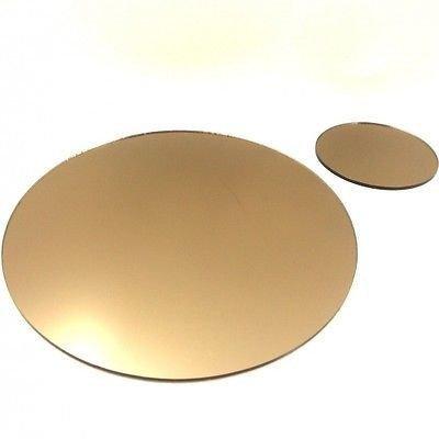 Napperons et Sous-verres Ronds Style Miroir en Bronze - Acrylique, 4 Napperons