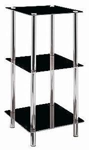 Regal in chrom-schwarz aus Glas und Stahl