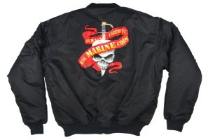"Ultra Force MA-1 Black ""Marines Ribbon"" Flight Jacket"