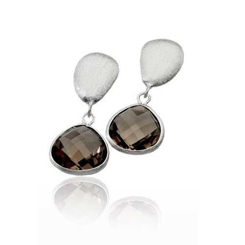 MATTE LIGHT SMOKEY QTZ OVAL DROP EARRINGS