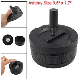 Black Round Push Down Smoker Cigarette Spinning Ashtray