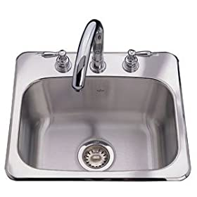 Kindred S1719/80ML/3 Three Hole Drop In Single Bowl Sink, Stainless Steel