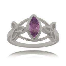 Celtic Purple Amethyst Trinity Knot Style Ring in Sterling Silver - Sizes 6, 7, 8