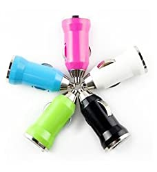 Universal mini USB Car Charger Adapter in Yellow, Purple, Pink, Blue and Black colours - 1 Charger Pack