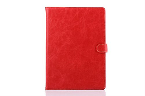 Apple Ipad Air 2 Case Borch Fashion Luxury Crazy-Horse Leather Multi-Function Protective Leather Light-Weight Folding Flip Smart Case Cover For For Ipad Air 2 (Red)