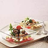 Borosil Square Dish with Lid and Storage Set, 3-Pieces