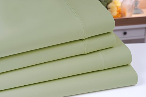 Aslan Organic Cotton Bed Sheet Set - 100% Cotton 4pc Sheet Set (Queen, Green Pistachio) (Organic Bed Set compare prices)