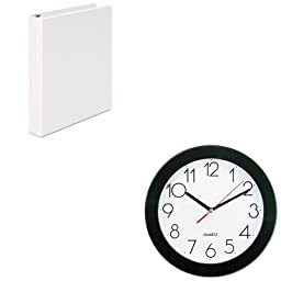KITUNV10421UNV20962 - Value Kit - Universal Round Wall Clock (UNV10421) and Universal Round Ring Economy Vinyl View Binder (UNV20962)