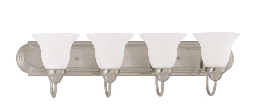Nuvo Lighting 60/3324 Ballerina 4-Light 30-Inch Vanity with Frosted Glass Shade, Brushed Nickel