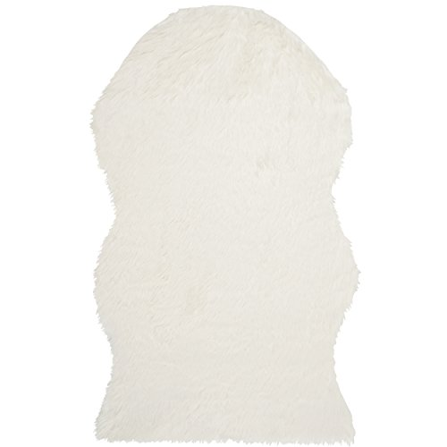 Safavieh Faux Sheep Skin Collection FSS115A Hand-made Ivory Acrylic, 3 feet by 5 feet (3' x 5')