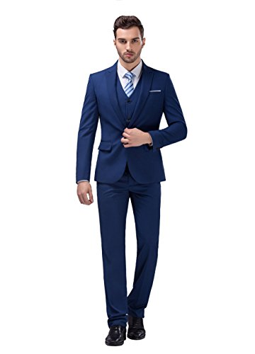 POSHAWN Men's Slim Fit Peak Lapel Three Piece Suit Set XX-Large (Men Blue Suit compare prices)