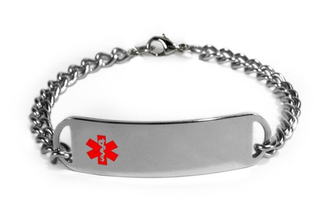 Diabetic On Insulin Medical Id Alert Bracelet With Embossed Emblem From Stainless Steel. D-Style, Premium Series.