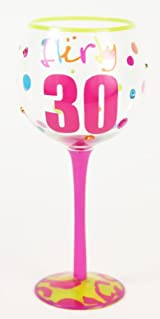 Hand Painted Milestone Flirty 30th Birthday Wine Glass, Holds 18 Oz - In A Gift Box
