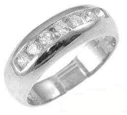 14K White Gold, Classic Band Style Ring For Men Guy Gent With Brilliant Lab Created Gems