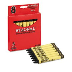 ** Staonal Marking Crayons, Black, 8/Box ** front-796589