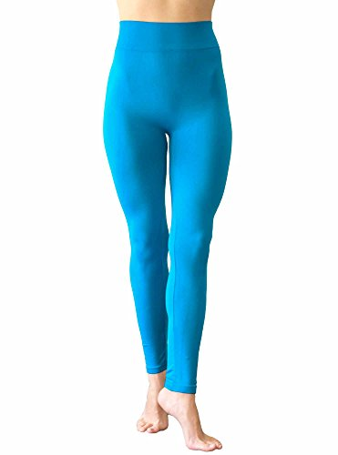 NOTOE Solid Color Seamless Legging with 3 Inch Height Waist Band (TURQUOISE) (Light Blue Leggings compare prices)