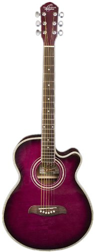 Oscar Schmidt Og10Ce Concert Sized Acoustic Electric Cutaway Guitar Bundle With Washburn Gb70 Deluxe Padded Gig Bag, Pick Card, And Polishing Cloth - Flame Transparent Purple