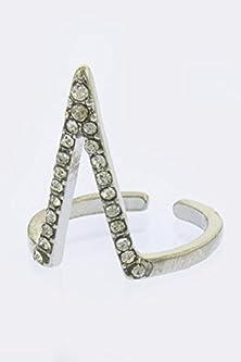 buy Karmas Canvas Crystal Lined V Shape Ring (Silver)