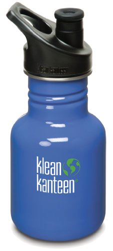Klean Kanteen 12 oz Stainless Steel Water Bottle (Sports Cap 3.0 in Black) - Lagoon Blue