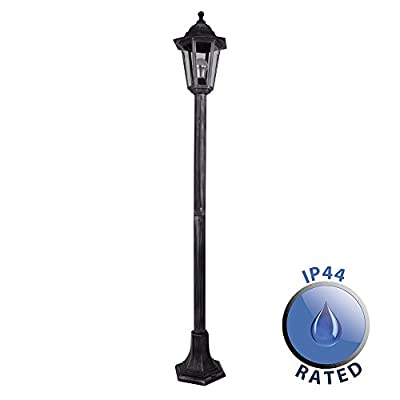 Traditional 1.2m Victorian Black And Silver Outdoor Garden Lamp Post Bollard And Top Lantern Light - IP44 Rated