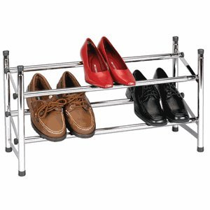 Household Essentials Expandable Two-Tier Shoe Rack, Chrome