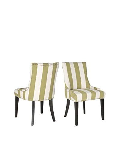 Safavieh Set of 2 Lester Dining Chairs, White Stripe