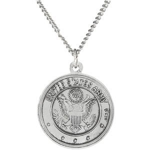 Sterling Silver U.S. Army Saint Christopher Necklace