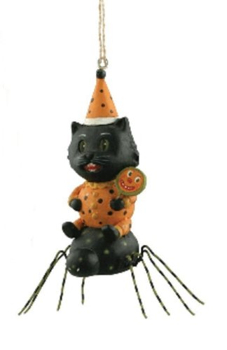 Bethany Lowe Greg Guedel Black Cat Riding a Black Spider Halloween Ornament