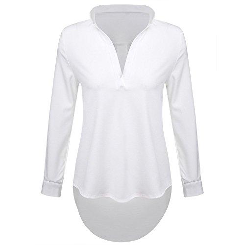 Da donna Con Risvolto Maniche Scollo a V Casual Chiffon Loose Shirts White 18