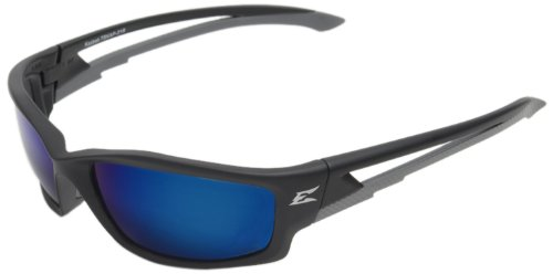 Edge Eyewear TSKAP218 Kazbek Polarized Safety Glasses, Black with Aqua Precision Blue Mirror Lens (Edge Safety Glasses Polarized compare prices)