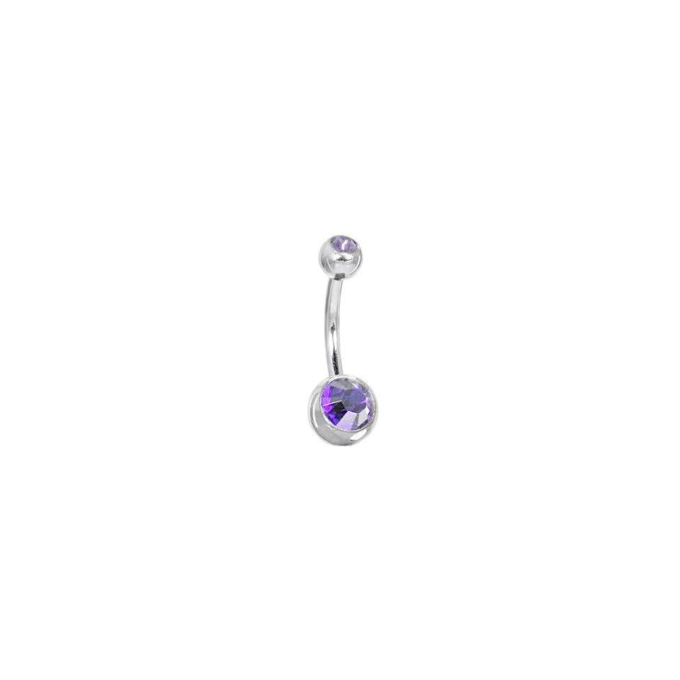 17ba25709 Belly Ring Double Gem Swarovski Stones Medium Purple Belly Button Ring 14G  Banana Piercing + Free