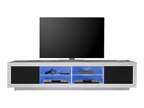 32202 TV Möbel Lowboard Weiss Hochglanz, Absetzung Akustikstoff schwarz, BxHxT 220x50x53 cm