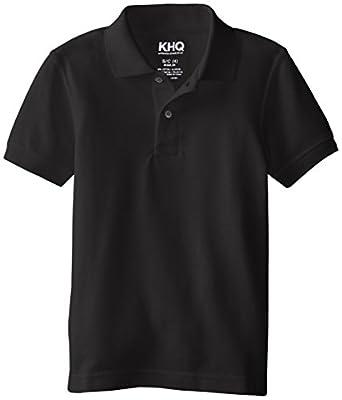 KHQ Big Boys' Short Sleeve Pique Polo, Black, Small