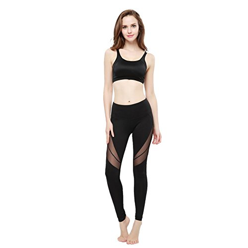 JOYMODE Women's Essentials Ankle Legging Elastic Mesh Insert Yoga Capri Pants Size S Black