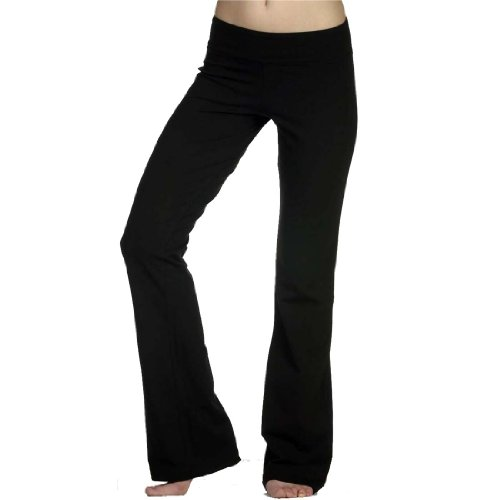 Slimming Rollover Bootleg Yoga Comfy Pants (Medium, Black) $13.99